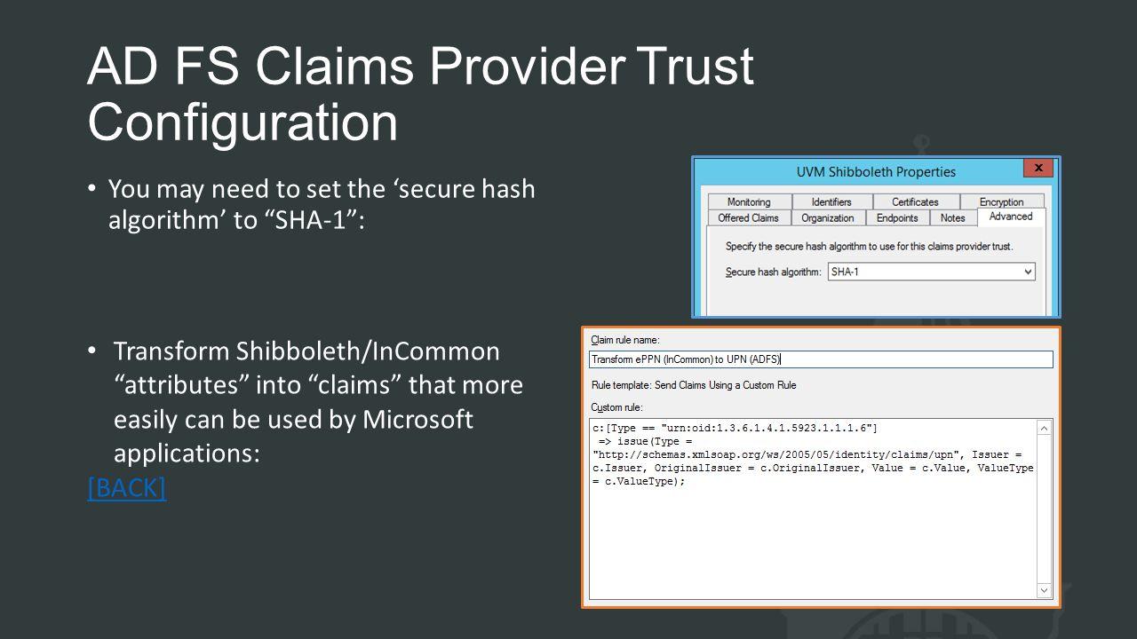 AD FS Claims Provider Trust Configuration