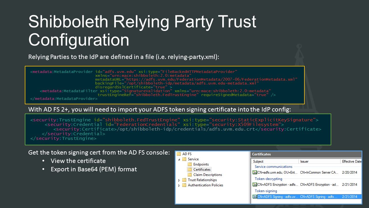 Shibboleth Relying Party Trust Configuration