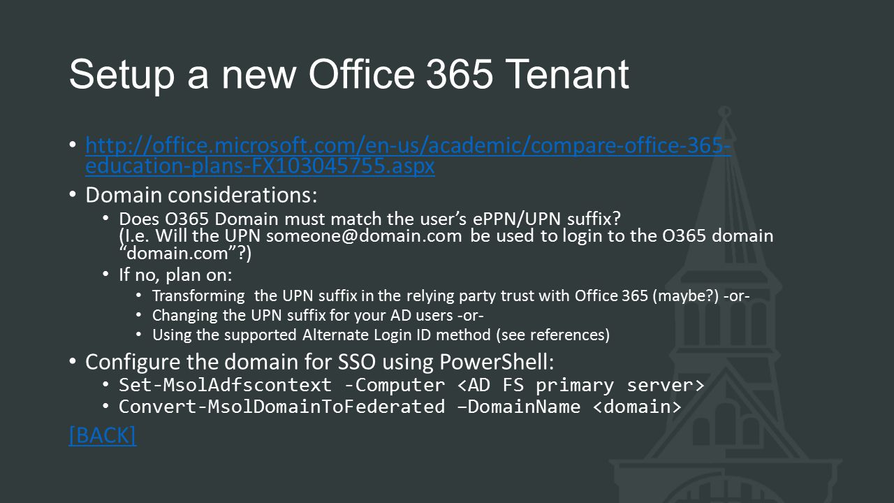 Setup a new Office 365 Tenant