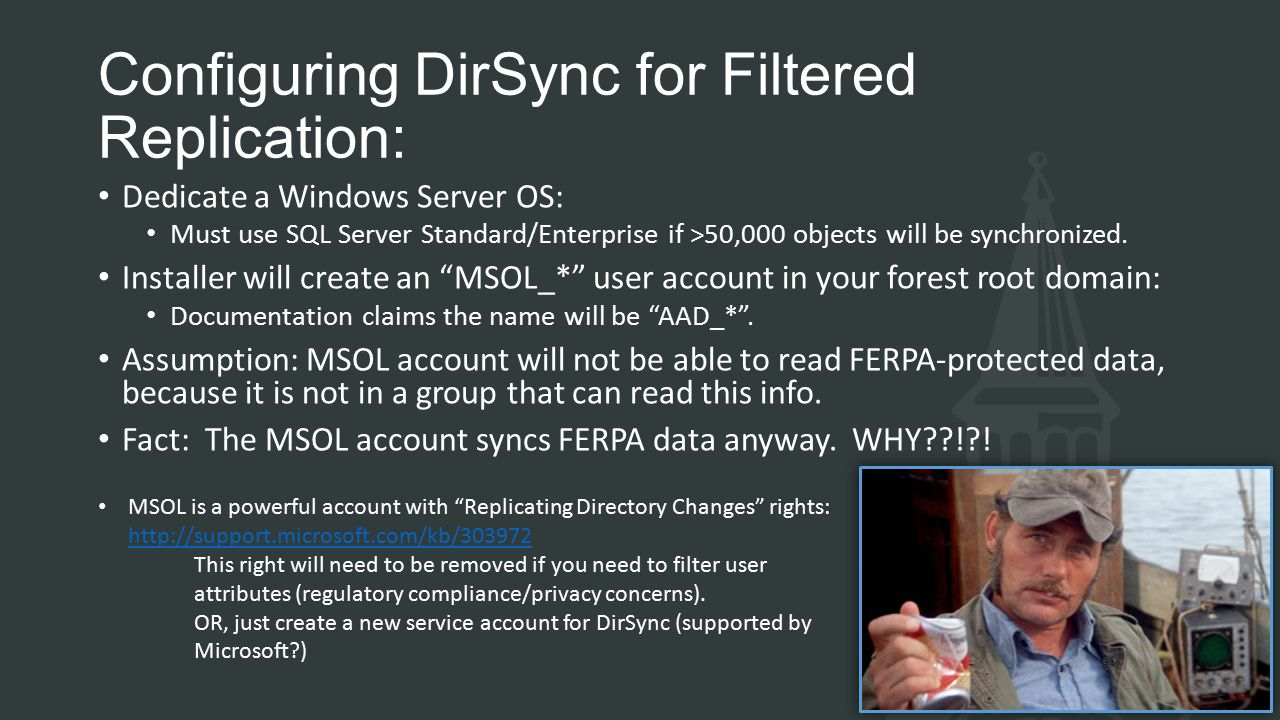 Configuring DirSync for Filtered Replication: