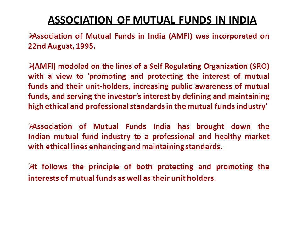 ASSOCIATION OF MUTUAL FUNDS IN INDIA