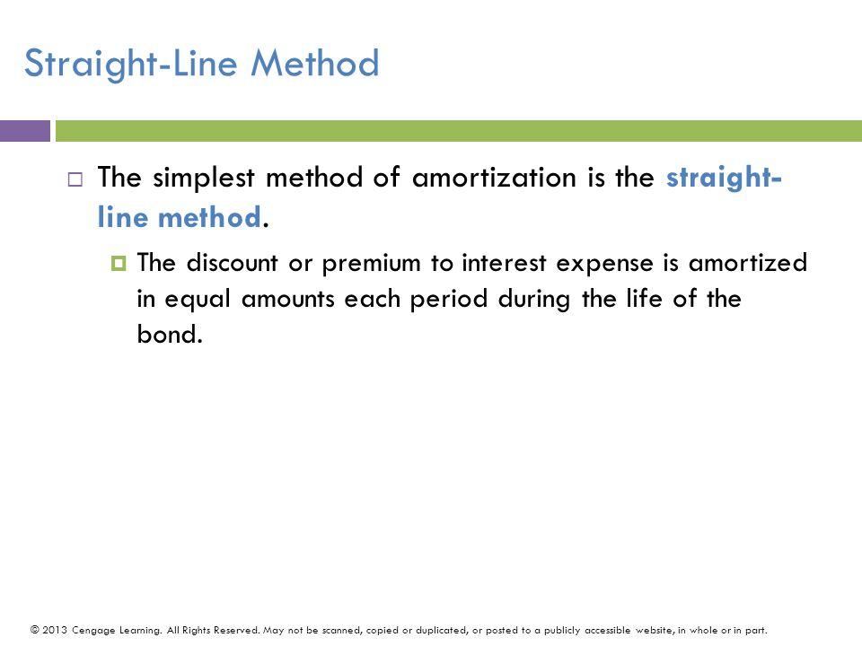 Straight-Line Method The simplest method of amortization is the straight- line method.