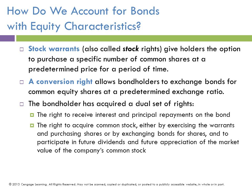 How Do We Account for Bonds with Equity Characteristics