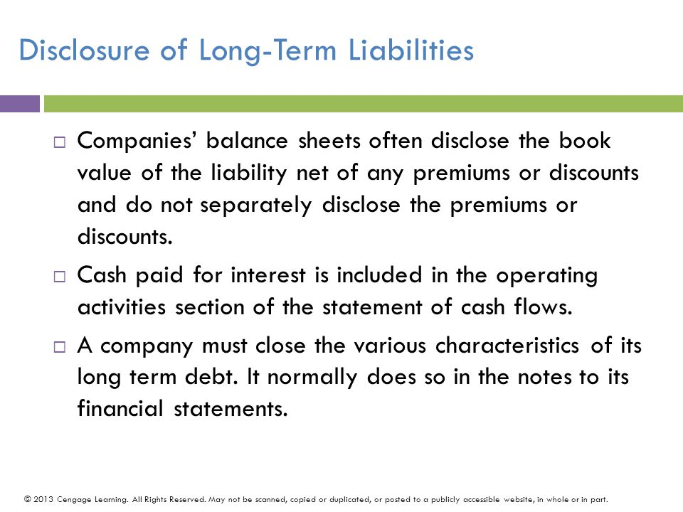 Disclosure of Long-Term Liabilities