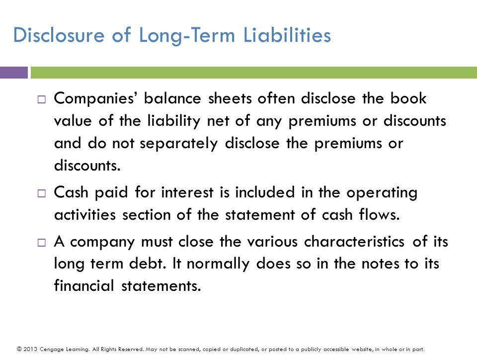 Disclosure of Long-Term Liabilities
