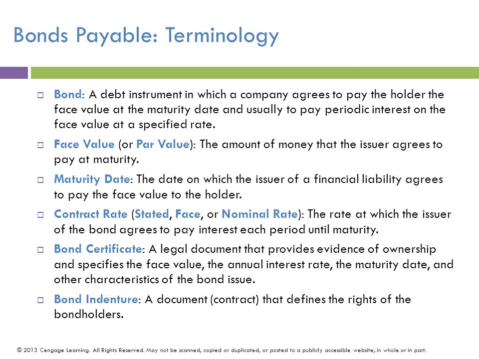 Bonds Payable: Terminology