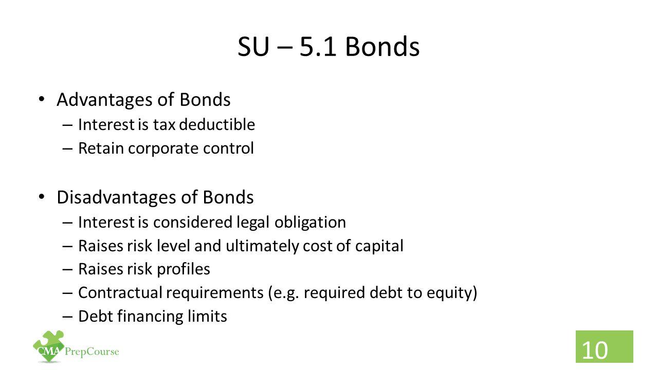 SU – 5.1 Bonds Advantages of Bonds Disadvantages of Bonds