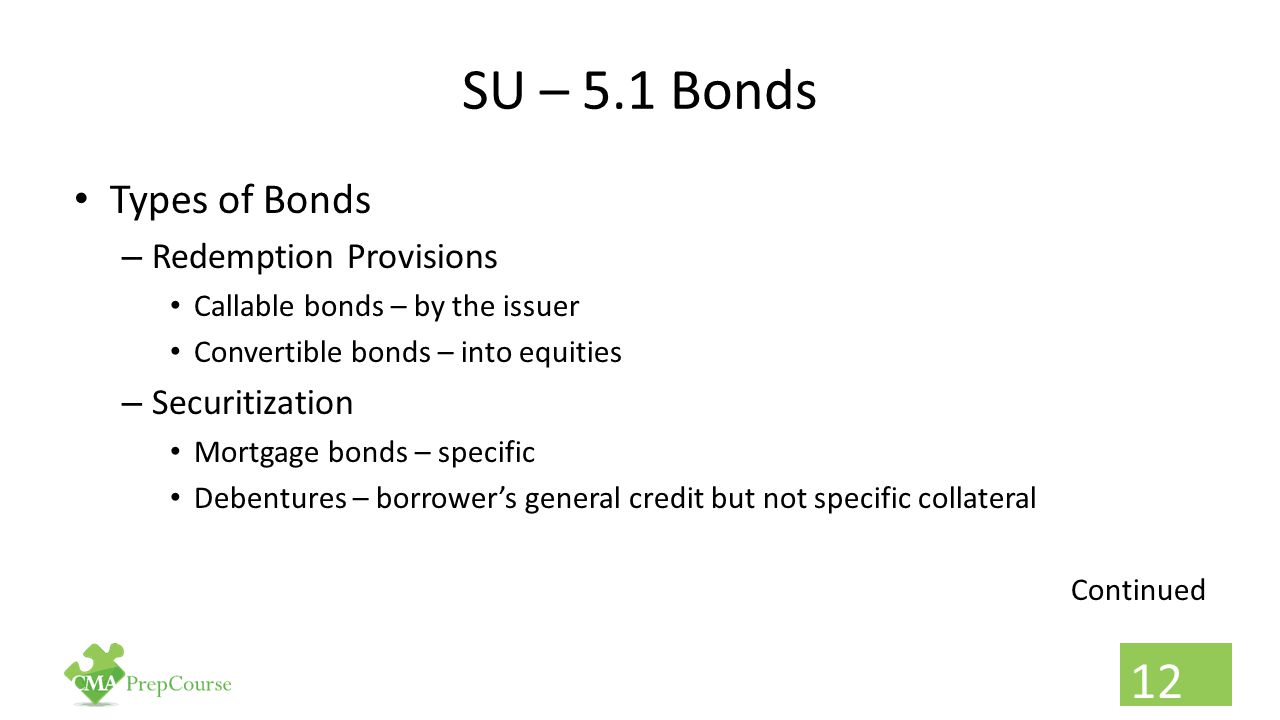 SU – 5.1 Bonds Types of Bonds Redemption Provisions Securitization