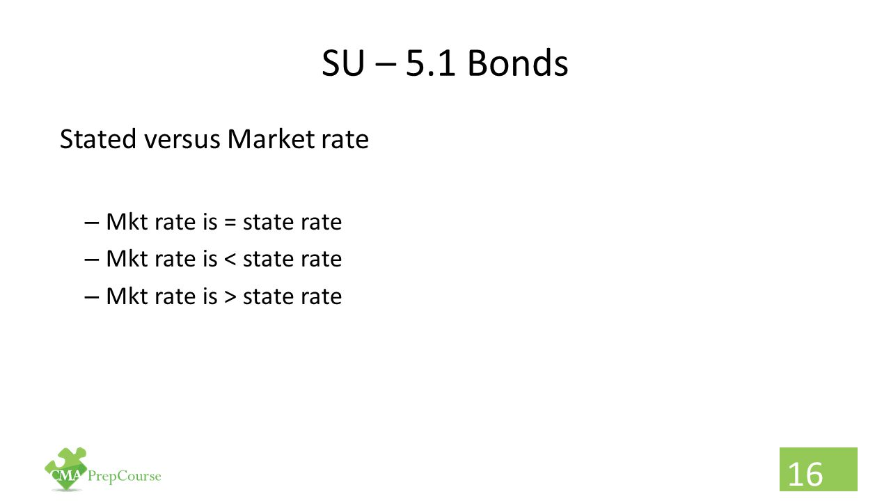 SU – 5.1 Bonds Stated versus Market rate Mkt rate is = state rate