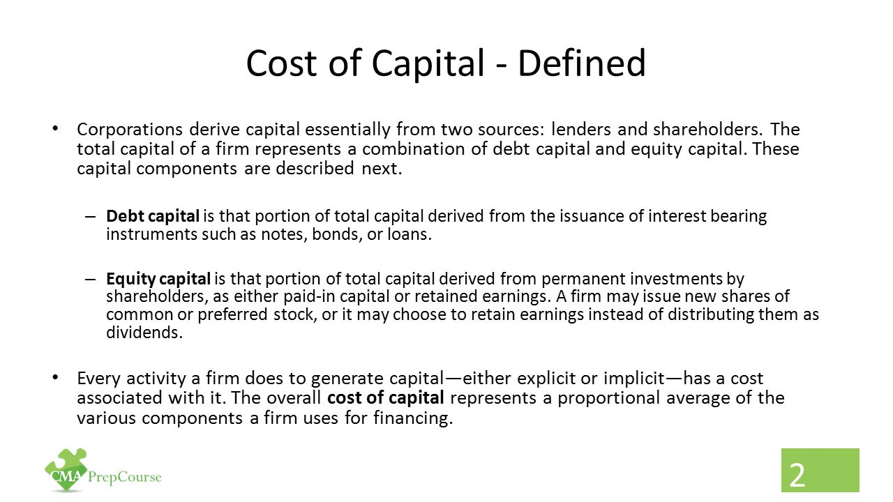 Cost of Capital - Defined