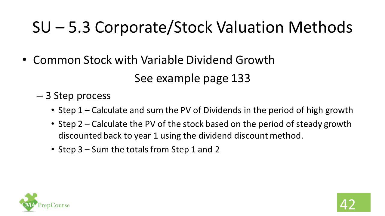 SU – 5.3 Corporate/Stock Valuation Methods