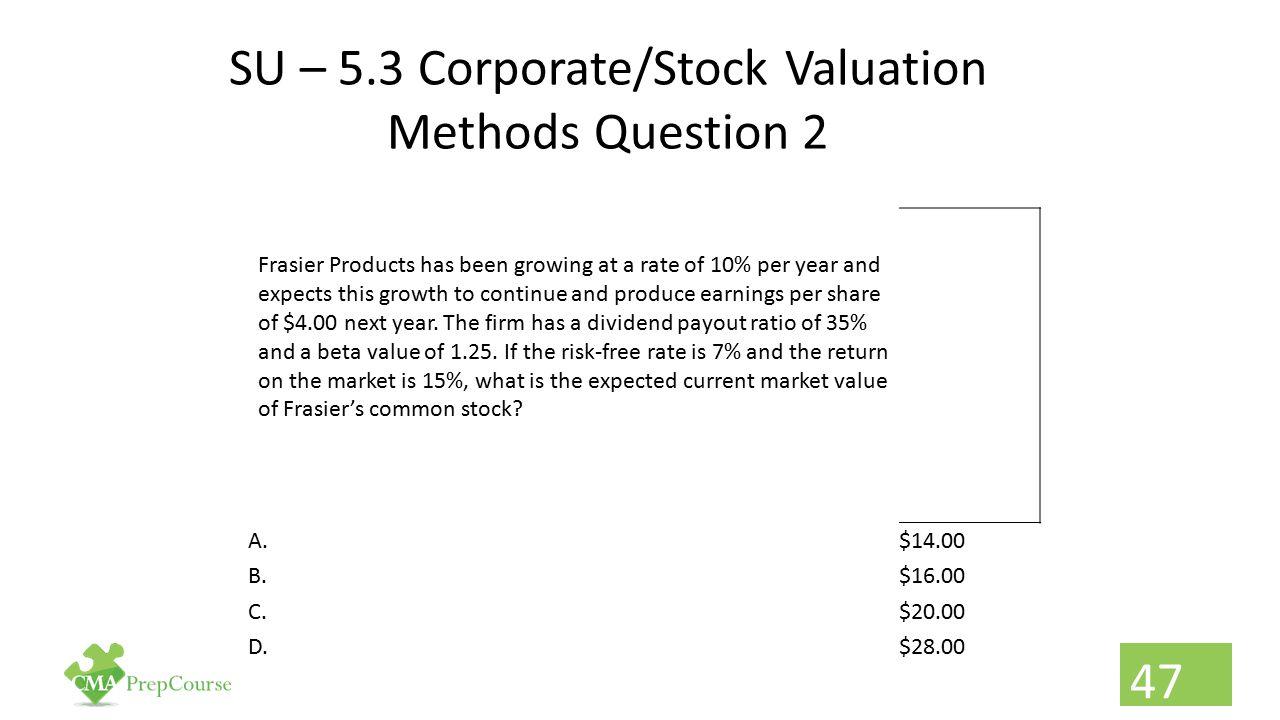 SU – 5.3 Corporate/Stock Valuation Methods Question 2