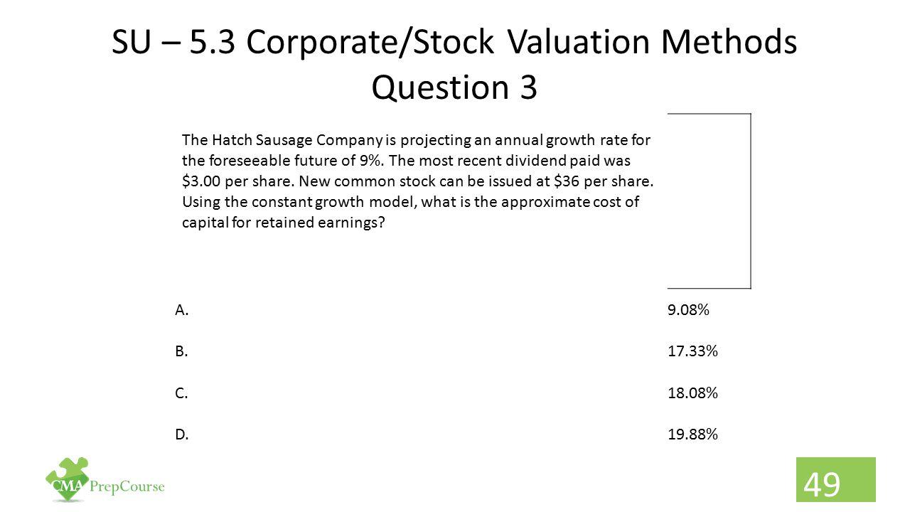 SU – 5.3 Corporate/Stock Valuation Methods Question 3