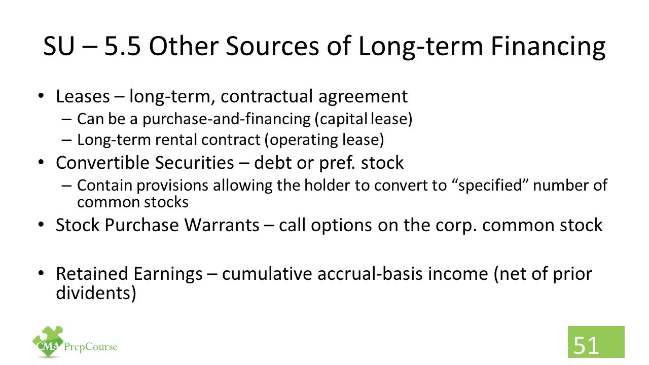 SU – 5.5 Other Sources of Long-term Financing