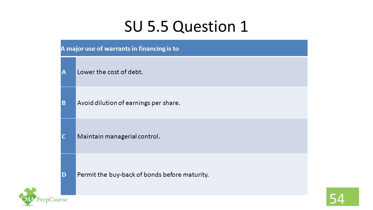 SU 5.5 Question 1 A major use of warrants in financing is to A