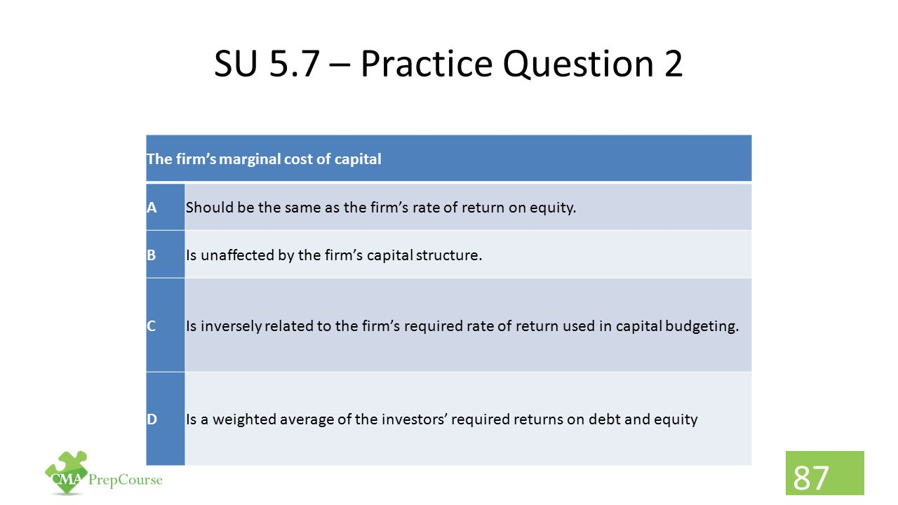 SU 5.7 – Practice Question 2 The firm's marginal cost of capital A