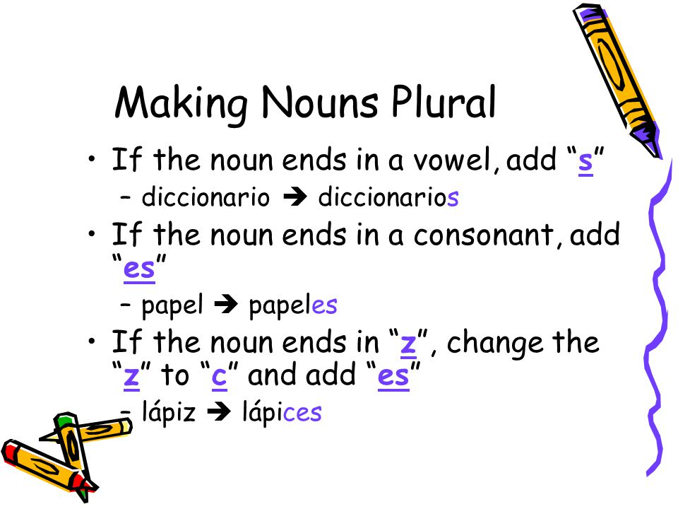 Making Nouns Plural If the noun ends in a vowel, add s