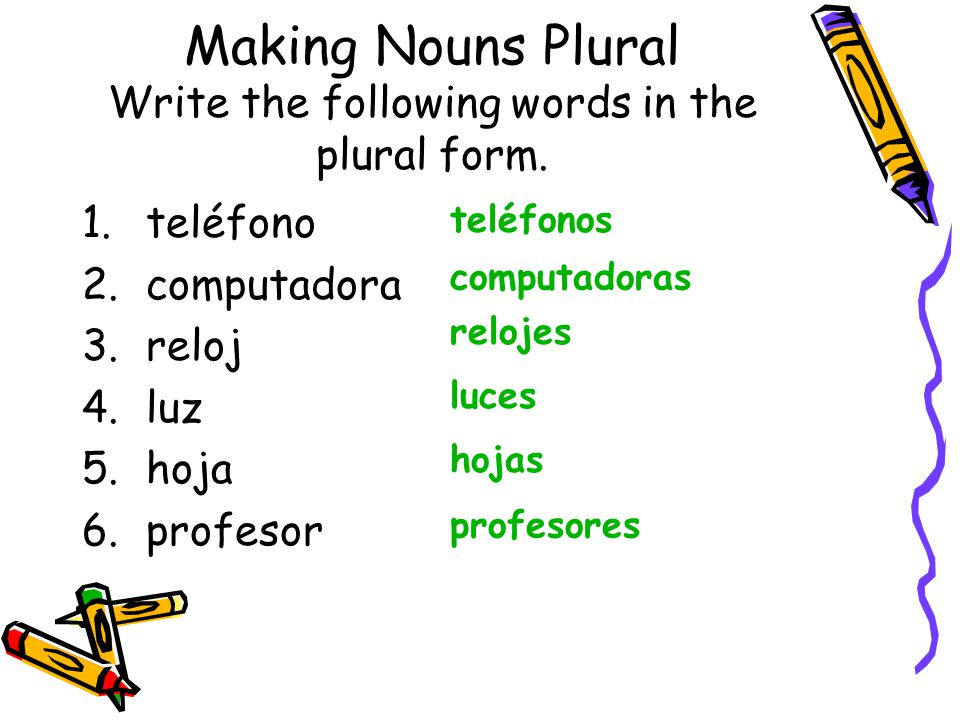 Making Nouns Plural Write the following words in the plural form.