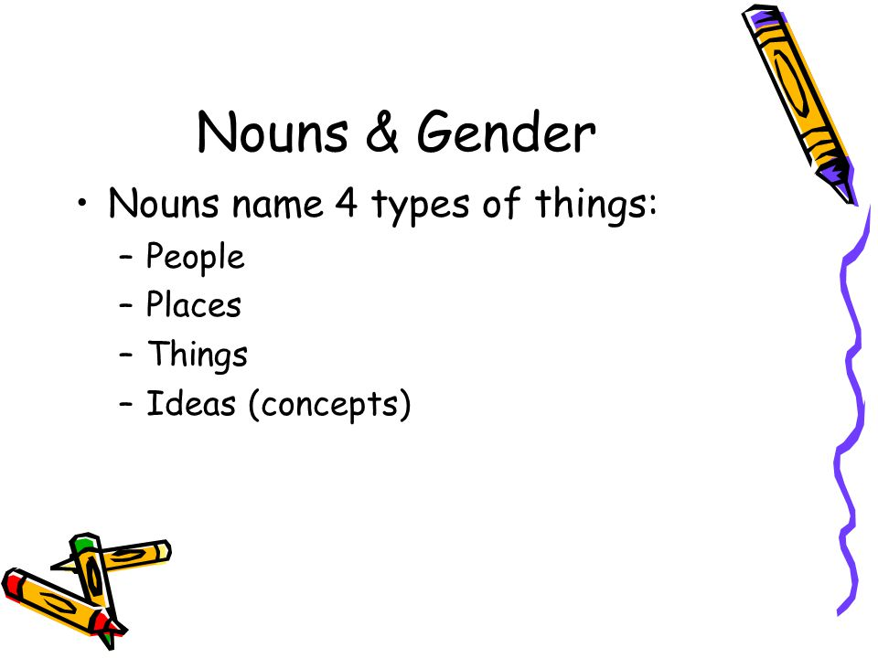 Nouns & Gender Nouns name 4 types of things: People Places Things