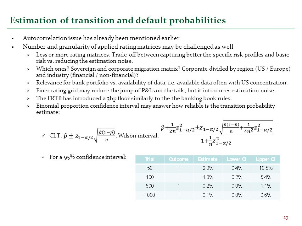 Estimation of transition and default probabilities