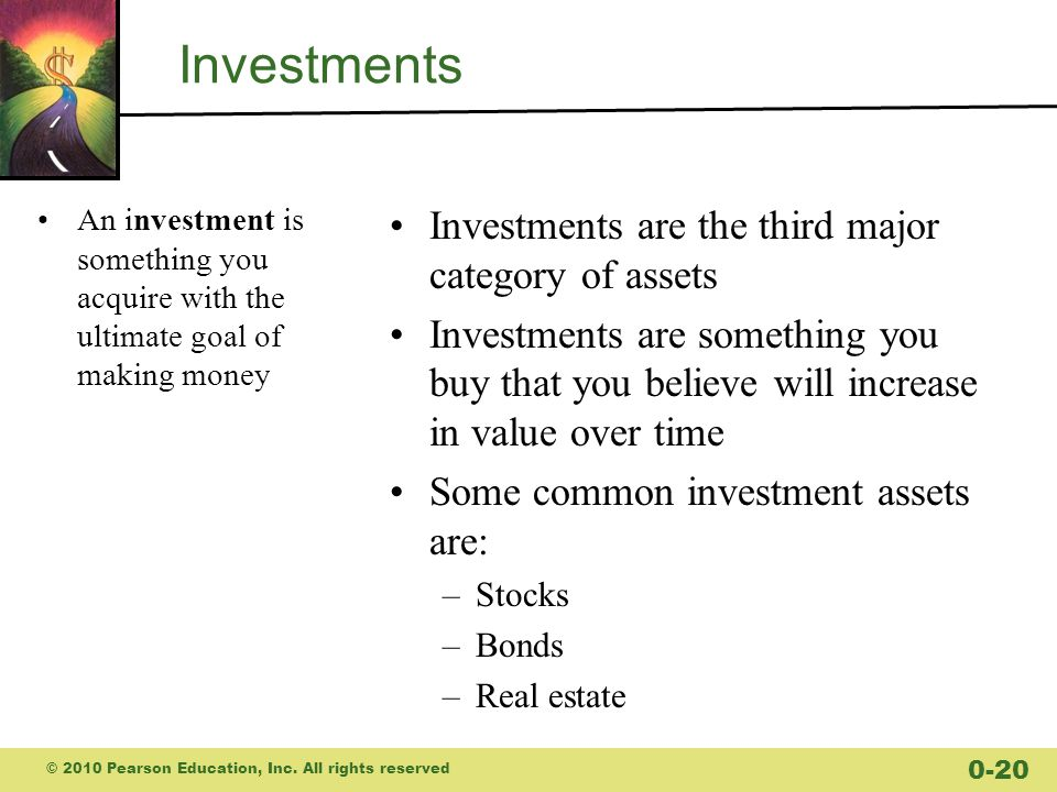 Investments Investments are the third major category of assets