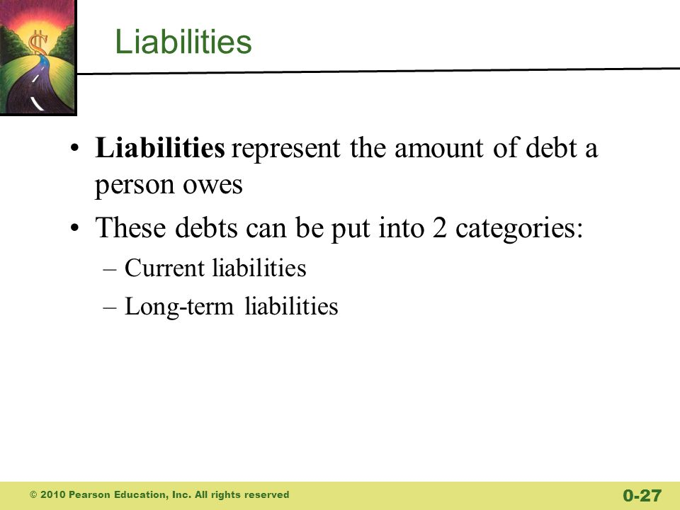 Liabilities Liabilities represent the amount of debt a person owes