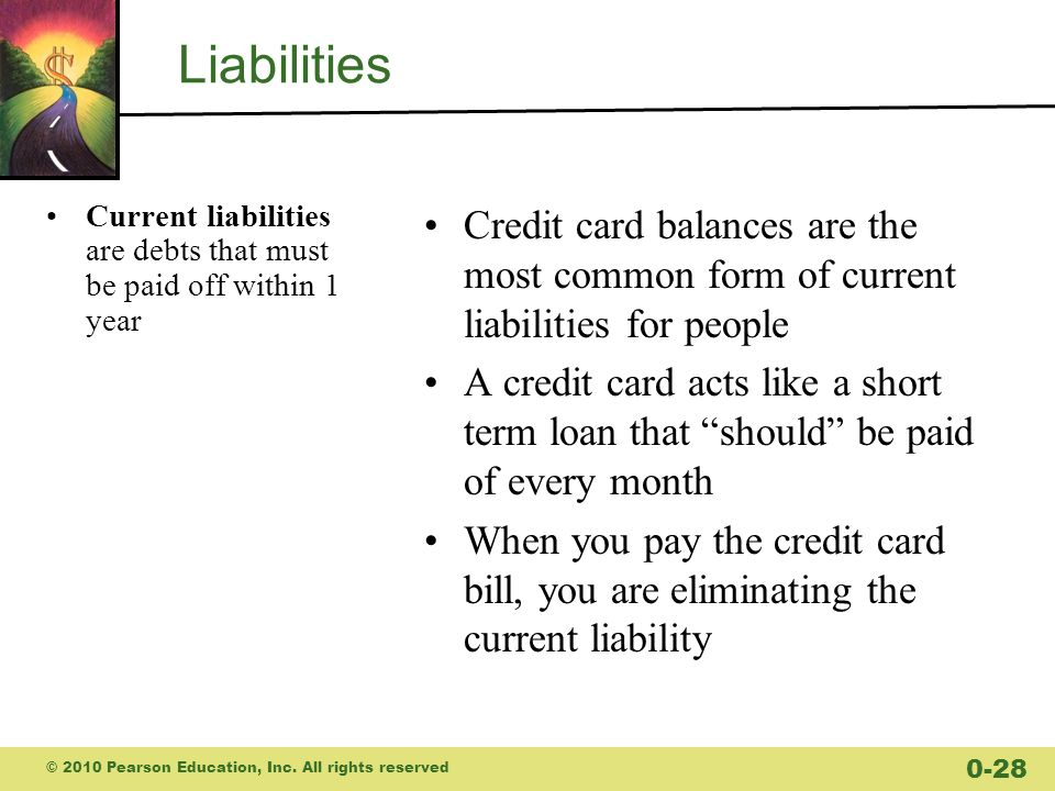 Liabilities Current liabilities are debts that must be paid off within 1 year.