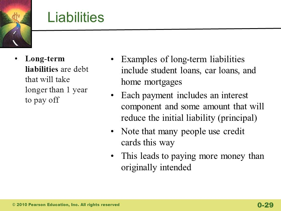 Liabilities Long-term liabilities are debt that will take longer than 1 year to pay off.