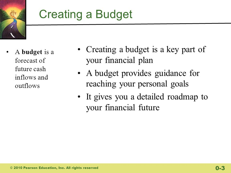 Creating a Budget Creating a budget is a key part of your financial plan. A budget provides guidance for reaching your personal goals.