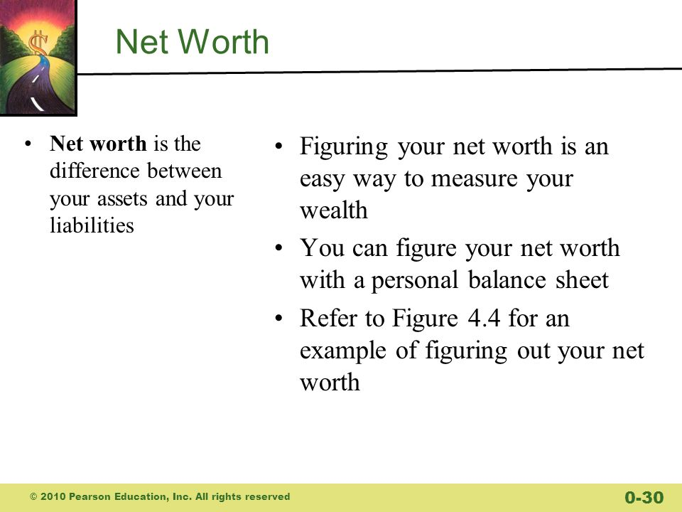 Net Worth Net worth is the difference between your assets and your liabilities. Figuring your net worth is an easy way to measure your wealth.