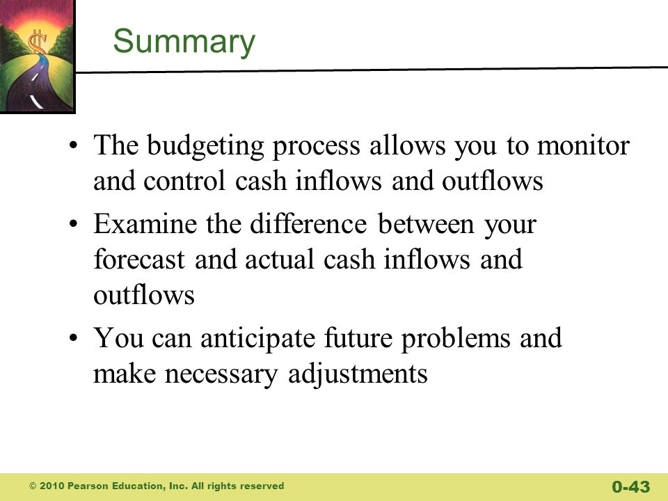 Summary The budgeting process allows you to monitor and control cash inflows and outflows.