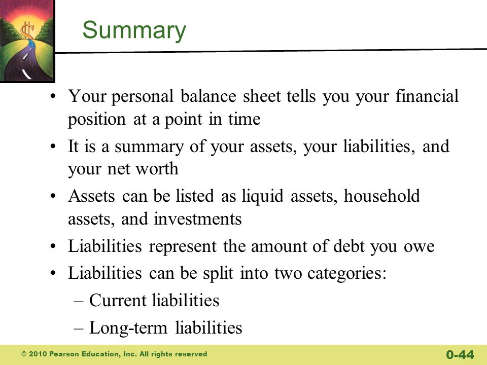 Summary Your personal balance sheet tells you your financial position at a point in time.