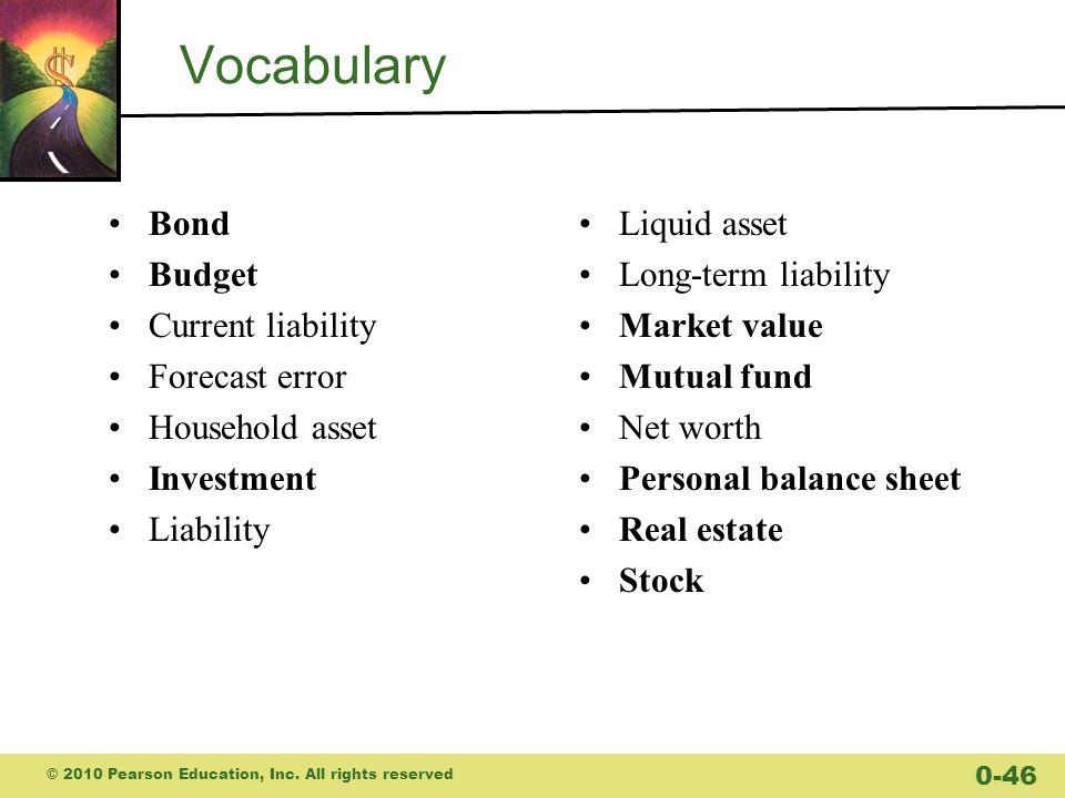 Vocabulary Bond Budget Current liability Forecast error
