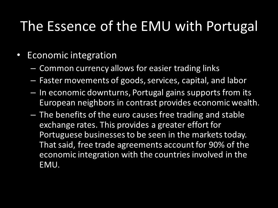 The Essence of the EMU with Portugal
