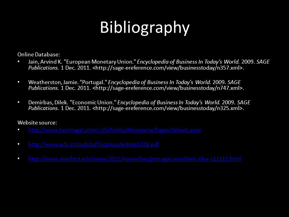 Bibliography Online Database: