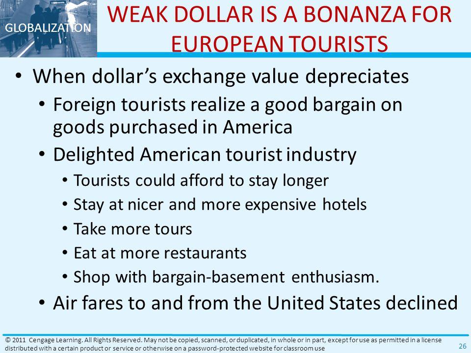 WEAK DOLLAR IS A BONANZA FOR EUROPEAN TOURISTS