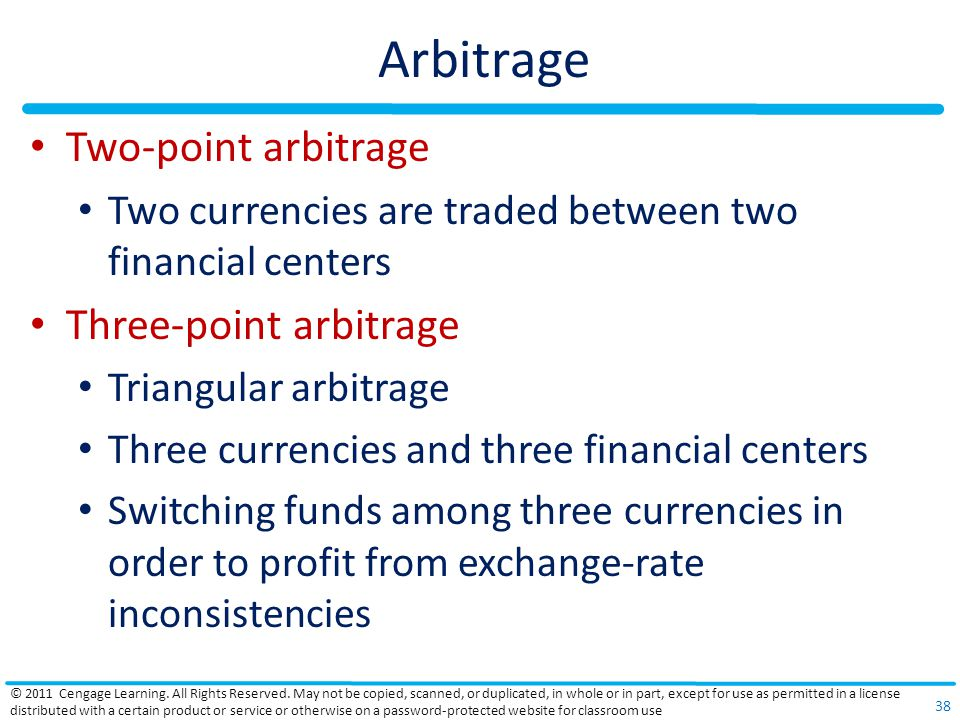 Arbitrage Two-point arbitrage Three-point arbitrage