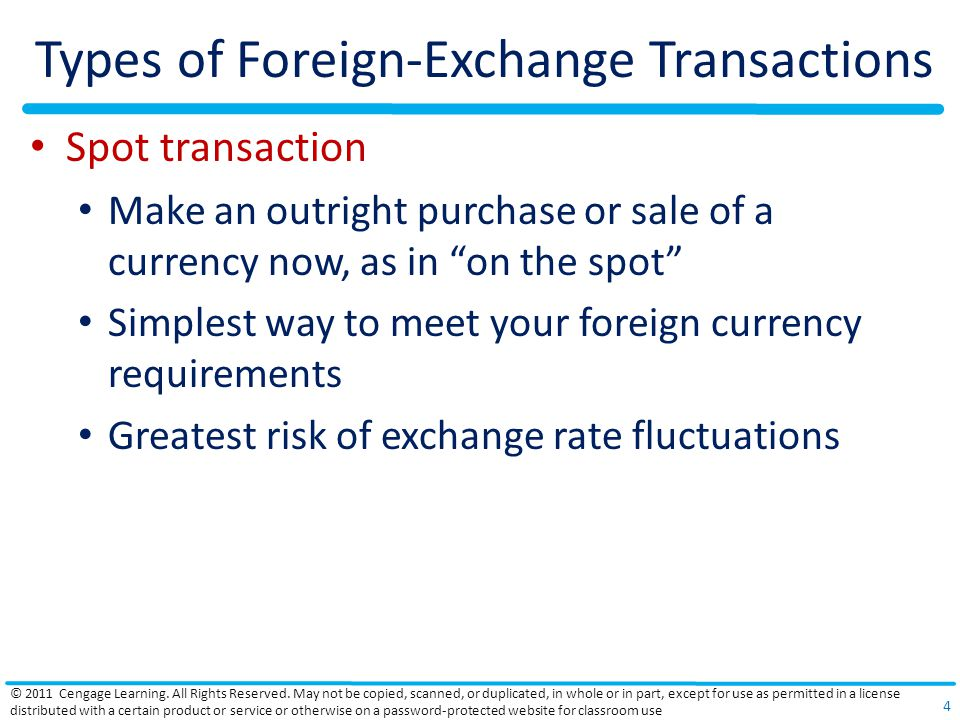 Types of Foreign-Exchange Transactions