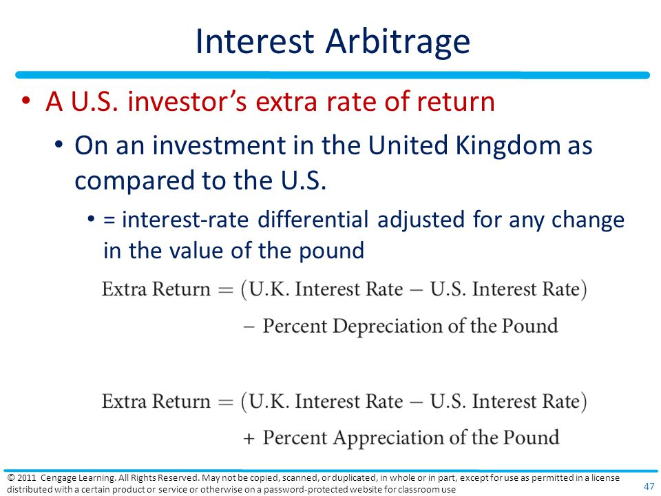 Interest Arbitrage A U.S. investor's extra rate of return