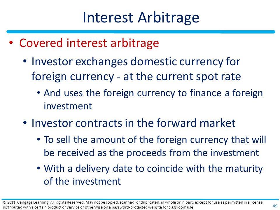 Interest Arbitrage Covered interest arbitrage
