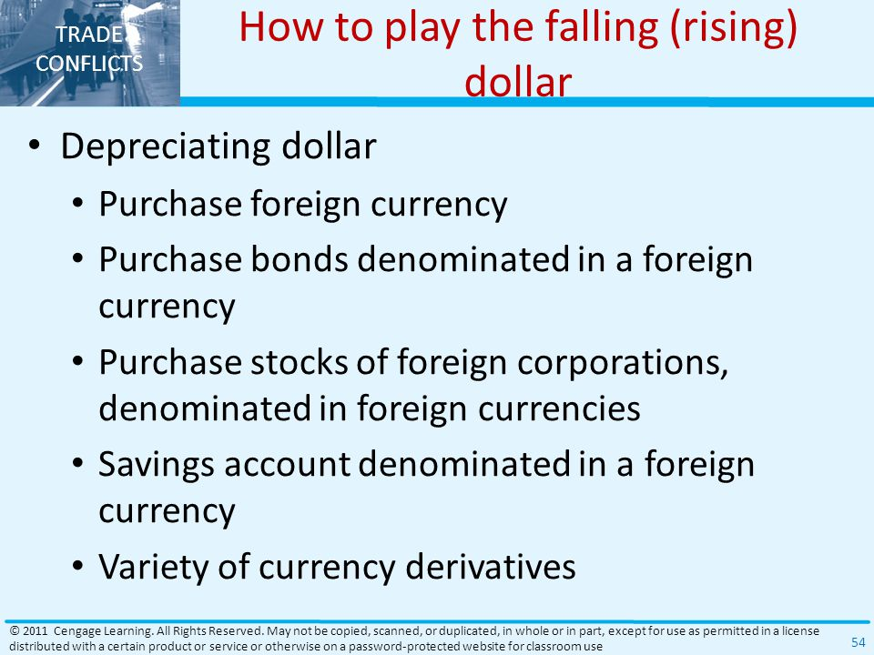 How to play the falling (rising) dollar