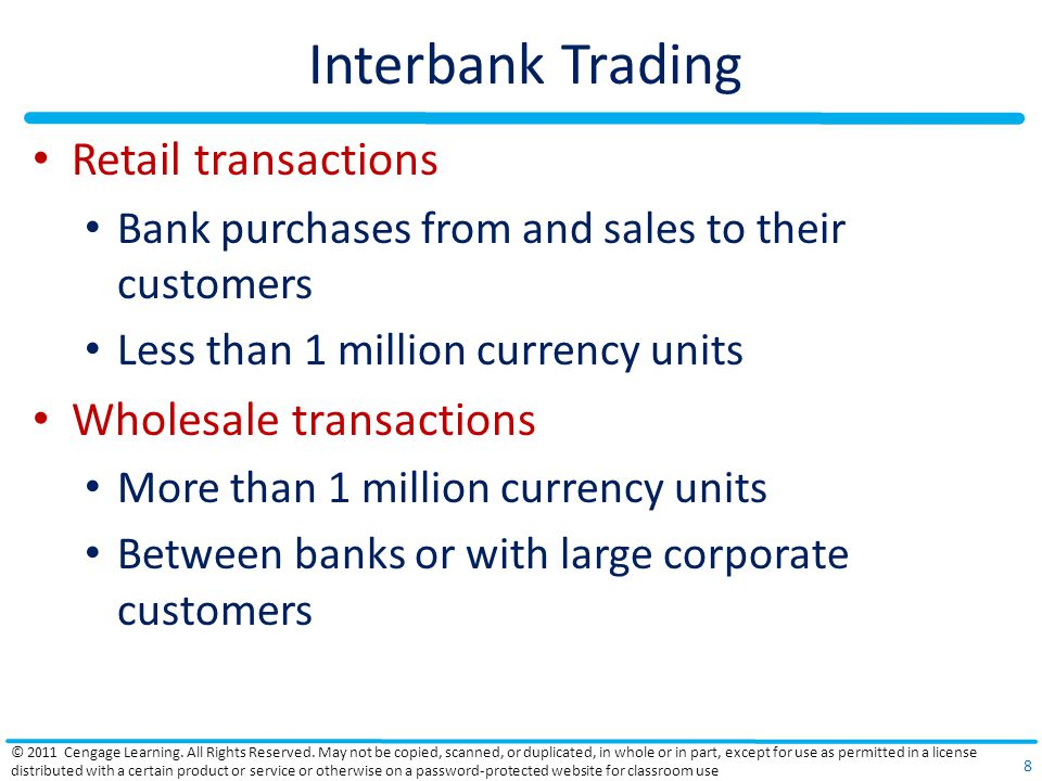 Interbank Trading Retail transactions Wholesale transactions