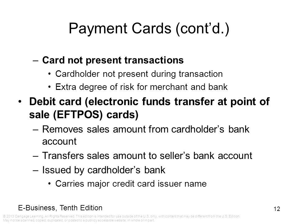 Payment Cards (cont'd.)