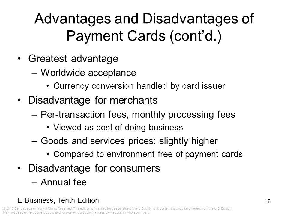Advantages and Disadvantages of Payment Cards (cont'd.)