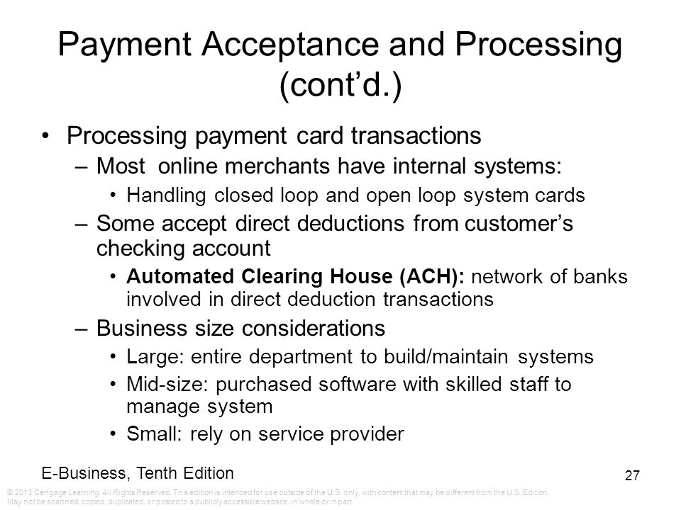 Payment Acceptance and Processing (cont'd.)