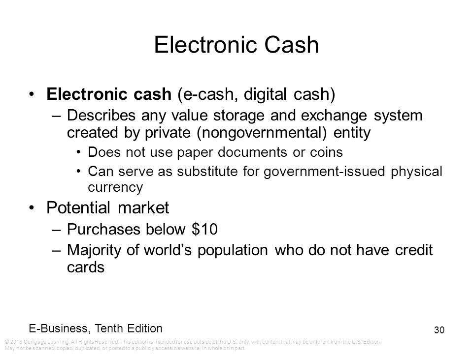 Electronic Cash Electronic cash (e-cash, digital cash)