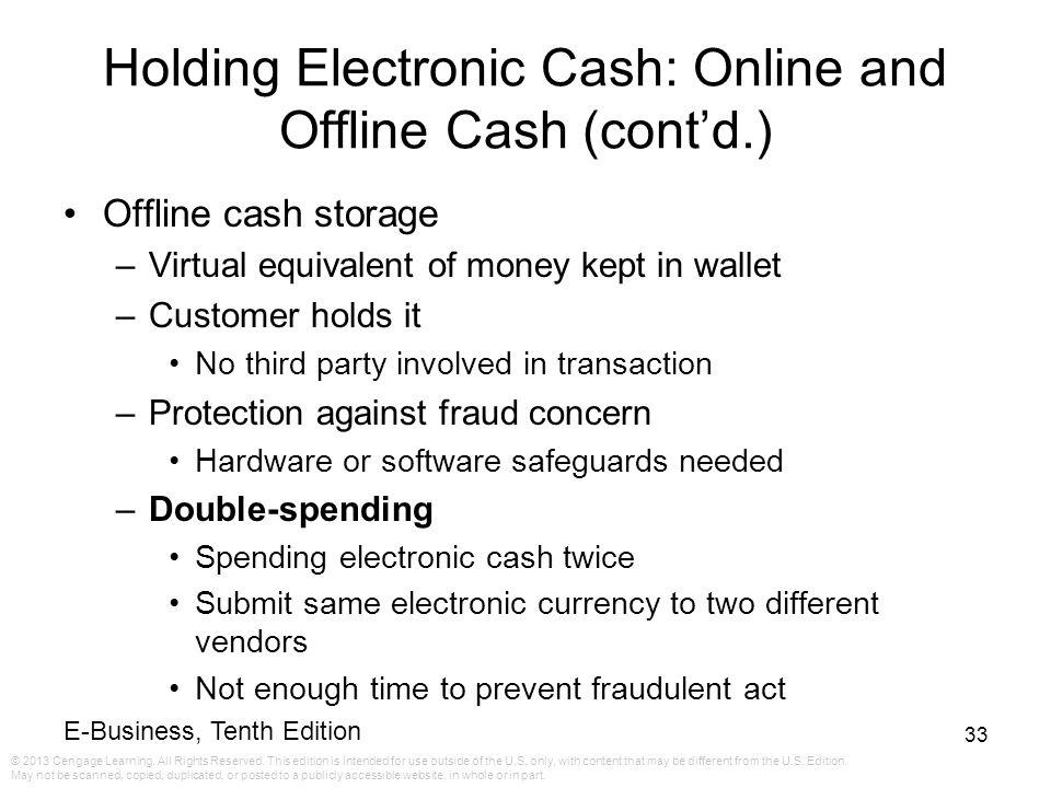 Holding Electronic Cash: Online and Offline Cash (cont'd.)