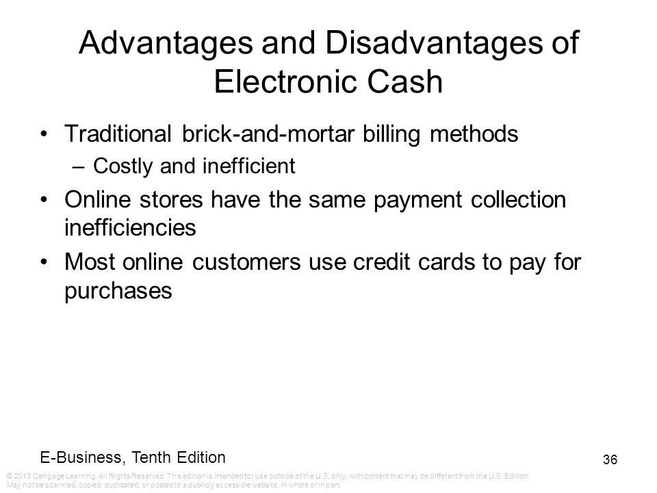 Advantages and Disadvantages of Electronic Cash