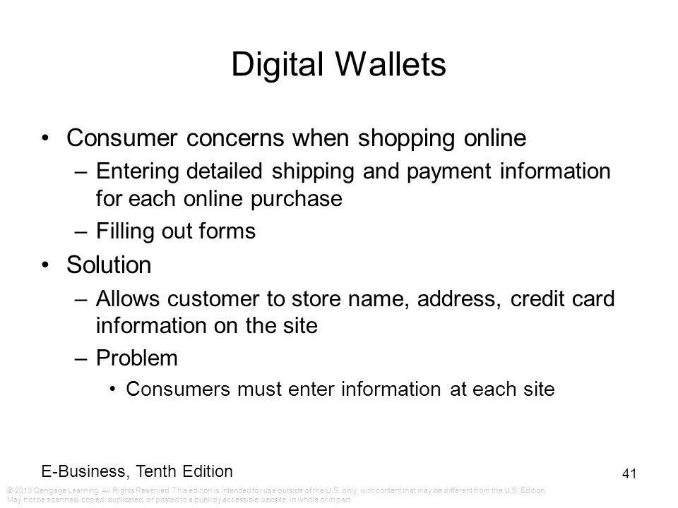Digital Wallets Consumer concerns when shopping online Solution