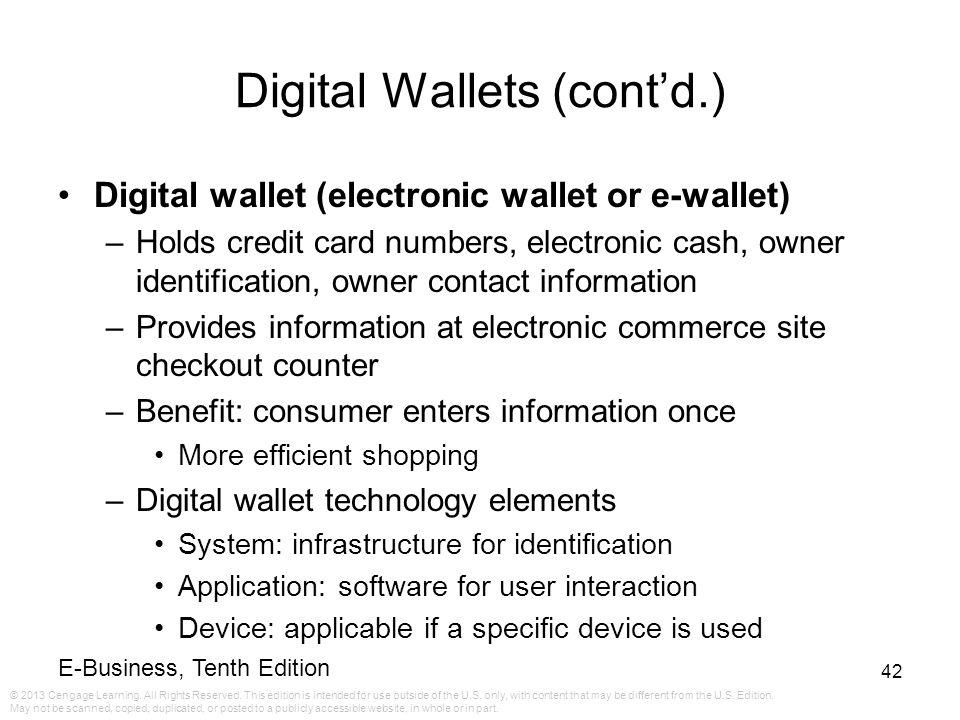Digital Wallets (cont'd.)